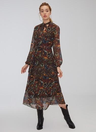 People By Fabrika Desenli Uzun Elbise Siyah